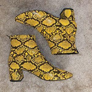 Mango snake skin heeled boot - yellow